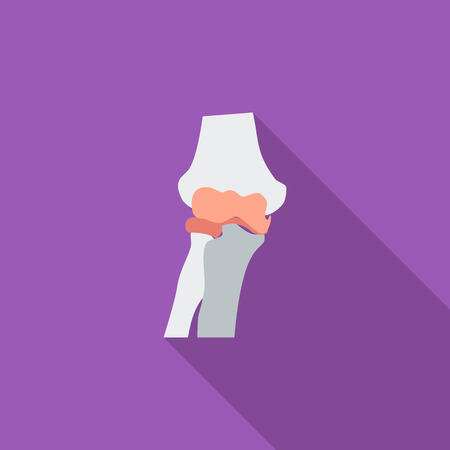 geriatrics: Knee-joint icon. Flat vector related icon with long shadow for web and mobile applications. It can be used as  pictogram, icon, infographic element. Vector Illustration. Illustration