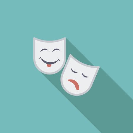 cara sonriente: Icono de m�scara de teatro. Vector plana icono relacionado con la larga sombra para web y aplicaciones m�viles. Se puede utilizar como pictograma, icono, elemento de infograf�a. Ilustraci�n del vector. Vectores