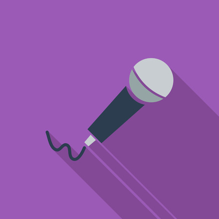 studio microphone: Microphone icon. Flat vector related icon with long shadow for web and mobile applications. It can be used as  pictogram, icon, infographic element. Vector Illustration.