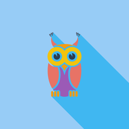 wise old owl: Owl icon. Flat vector related icon with long shadow for web and mobile applications. It can be used as   pictogram, icon, infographic element. Vector Illustration. Illustration