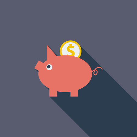 economise: Piggy bank icon. Flat vector related icon with long shadow for web and mobile applications. It can be used as  pictogram, icon, infographic element. Vector Illustration.