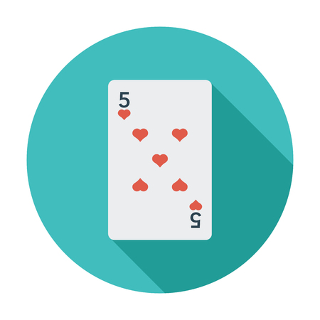 double the chances: Play card icon. Flat vector related icon whit long shadow for web and mobile applications. It can be used as   pictogram, icon, infographic element. Vector Illustration.