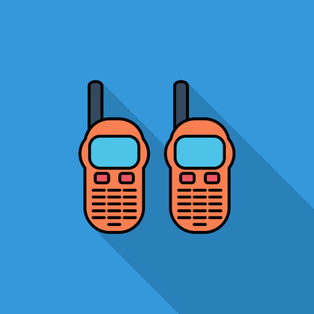Portable radio icon. Flat vector related icon with long shadow for web and mobile applications. It can be used as   pictogram, icon, infographic element. Vector Illustration.