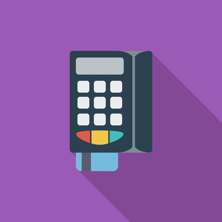 POS terminal icon. Flat vector related icon with long shadow for web and mobile applications. It can be used as   pictogram, icon, infographic element. Vector Illustration. Vectores