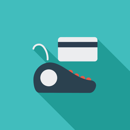 plastic card: POS terminal icon. Flat vector related icon with long shadow for web and mobile applications. It can be used as  pictogram, icon, infographic element. Vector Illustration.