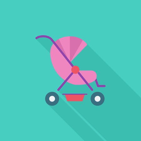 Pram icon. Flat vector related icon with long shadow for web and mobile applications. It can be used as  pictogram, icon, infographic element. Vector Illustration. Illustration