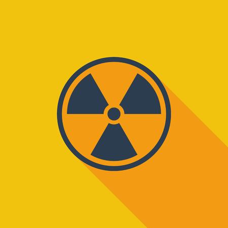 radiactividad: Icono de la radiactividad. Vector plana icono relacionado con la larga sombra para web y aplicaciones m�viles. Se puede utilizar como pictograma, icono, elemento de infograf�a. Ilustraci�n del vector.