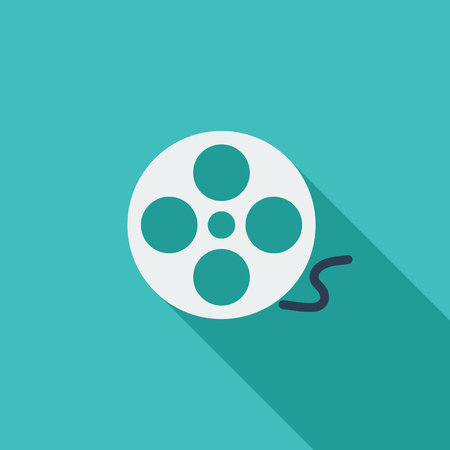 film industry: Reel of film icon. Flat vector related icon with long shadow for web and mobile applications. It can be used as  pictogram, icon, infographic element. Vector Illustration.