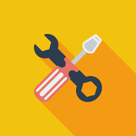 machanic: Repair icon. Flat vector related icon with long shadow for web and mobile applications. It can be used as  pictogram, icon, infographic element. Vector Illustration.