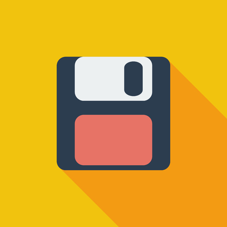 Magnetic floppy disc icon. Flat vector related icon with long shadow for web and mobile applications. It can be used as - pictogram, icon, infographic element. Vector Illustration.