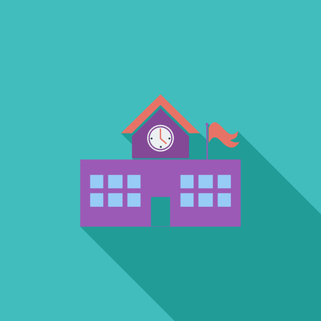 escuela edificio: School building icon. Flat vector related icon with long shadow for web and mobile applications. It can be used as - pictogram, icon, infographic element. Vector Illustration.