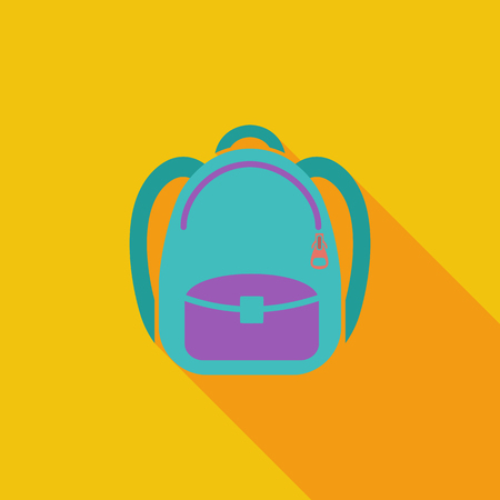 schoolbag: Schoolbag icon. Flat vector related icon with long shadow for web and mobile applications. It can be used as - pictogram, icon, infographic element. Vector Illustration. Illustration