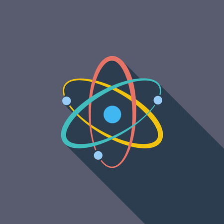 photons: Atom icon. Flat vector related icon with long shadow for web and mobile applications. It can be used as - pictogram, icon, infographic element. Vector Illustration. Illustration