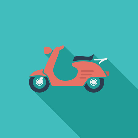 revivalism: Scooter icon. Flat vector related icon with long shadow for web and mobile applications. It can be used as - pictogram, icon, infographic element. Vector Illustration.