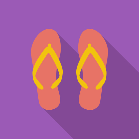 flipflop: Beach slippers icon. Flat vector related icon with long shadow for web and mobile applications. It can be used as - pictogram, icon, infographic element. Vector Illustration.