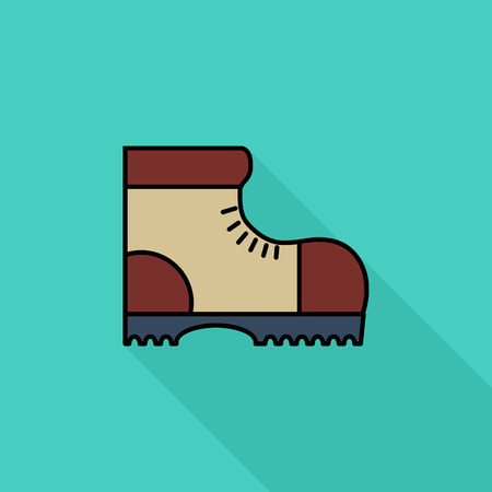 Hiking shoes icon. Flat vector related icon with long shadow for web and mobile applications. It can be used as - pictogram, icon, infographic element. Vector Illustration.