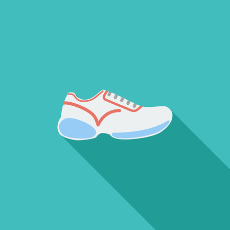 marathon: Shoes icon. Flat vector related icon with long shadow for web and mobile applications. It can be used as - pictogram, icon, infographic element. Vector Illustration.
