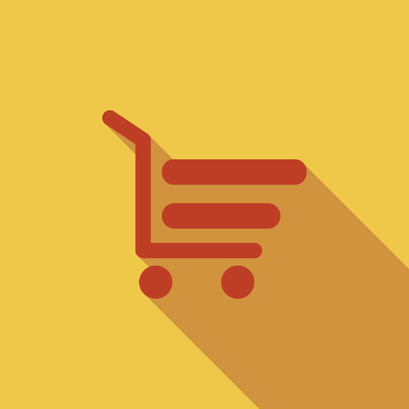 internet store: Shopping cart icon. Flat vector related icon with long shadow for web and mobile applications. It can be used as -  pictogram, icon, infographic element. Vector Illustration.