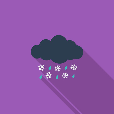 sleet: Sleet icon. Flat vector related icon with long shadow for web and mobile applications. It can be used as - pictogram, icon, infographic element. Vector Illustration.