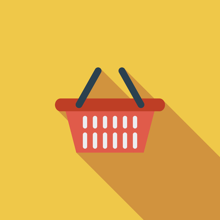 shopping bag icon: Shopping basket icon. Flat vector related icon with long shadow for web and mobile applications. It can be used as - pictogram, icon, infographic element. Vector Illustration.