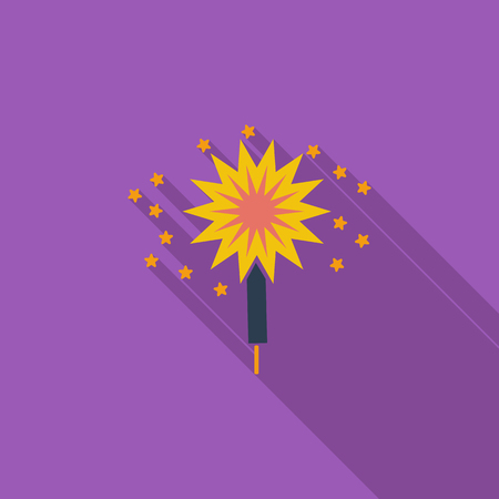 bengal light: Sparkler icon. Flat vector related icon with long shadow for web and mobile applications. It can be used as - pictogram, icon, infographic element. Vector Illustration.