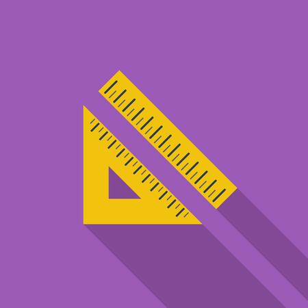 yardstick: Straightedge icon. Flat vector related icon with long shadow for web and mobile applications. It can be used as - pictogram, icon, infographic element. Vector Illustration.