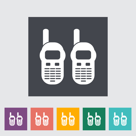 Portable radio. Single flat icon on the button. Vector illustration. Illustration