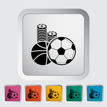 wager: Sport games. Single flat icon on the button. Vector illustration. Illustration