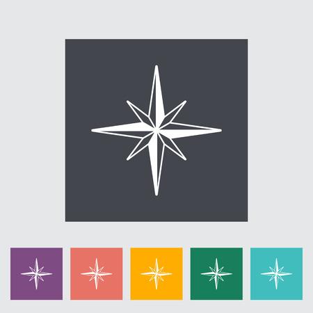 northwest: Wind rose. Single flat icon on the button. Vector illustration. Illustration