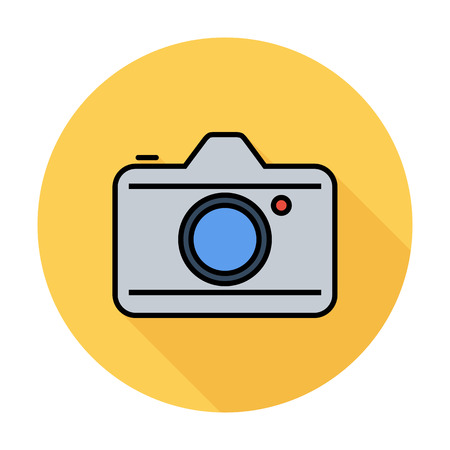 reflex camera: Camera. Single flat color icon on the circle. Vector illustration.