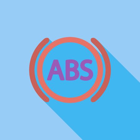 malfunction: ABS icon. Flat vector related icon with long shadow for web and mobile applications. Illustration