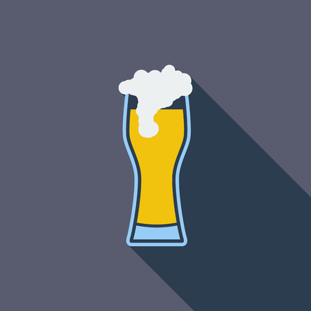 pint glass: Beer icon. Flat vector related icon with long shadow for web and mobile applications.