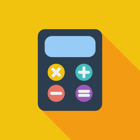 maths department: Calculator icon. Flat vector related icon with long shadow for web and mobile applications. Illustration