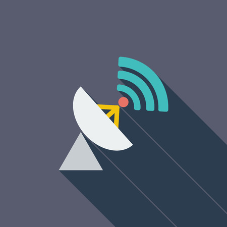 communication icon: Satellite antenna icon. Flat vector related icon with long shadow for web and mobile applications.  Illustration