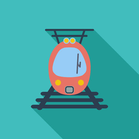 electric train: Suburban electric train icon. Flat vector related icon with long shadow for web and mobile applications. Illustration