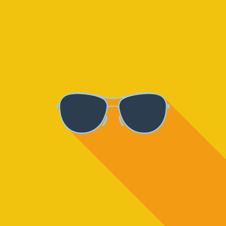 sunglasses reflection: Sunglasses icon. Flat vector related icon with long shadow for web and mobile applications.