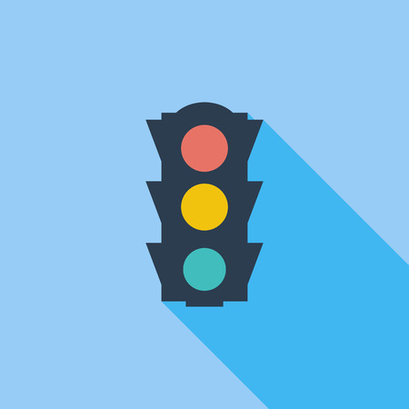 amber light: Traffic light icon. Flat vector related icon with long shadow for web and mobile applications.