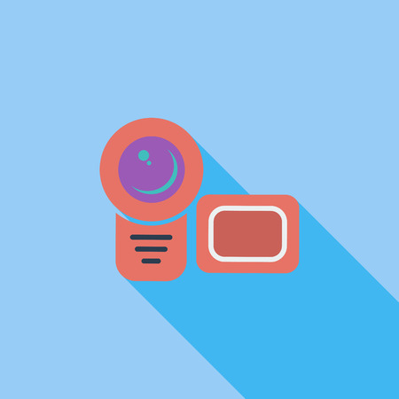 Video camera icon. Flat vector related icon with long shadow for web and mobile applications.