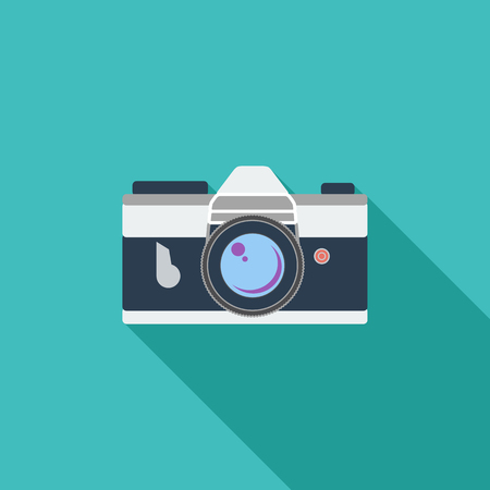 reflex camera: Vintage camera icon. Flat vector related icon with long shadow for web and mobile applications.