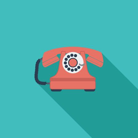 vintage phone: Vintage phone icon. Flat vector related icon with long shadow for web and mobile applications. Illustration