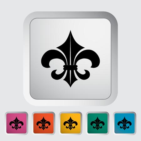 orleans symbol: Fleur. Single flat icon on the button. Vector illustration. Illustration