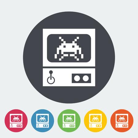operated: Retro Arcade Machine. Single flat icon on the circle button. Vector illustration.