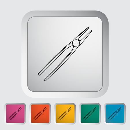 vise: Tong. Single flat icon on the button. Vector illustration. Illustration