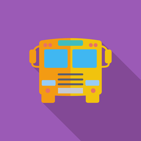 school transportation: Bus icon. Flat vector related icon with long shadow for web and mobile applications.