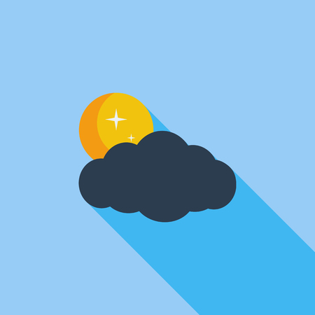 meteorological: Cloud, moon, star icon. Flat vector related icon with long shadow for web and mobile applications Illustration