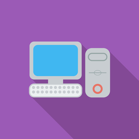 electronics parts: Computer icon. Flat vector related icon with long shadow for web and mobile applications