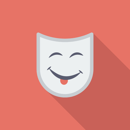 theatrical mask: Theatrical mask icon. Flat vector related icon with long shadow for web and mobile applications.