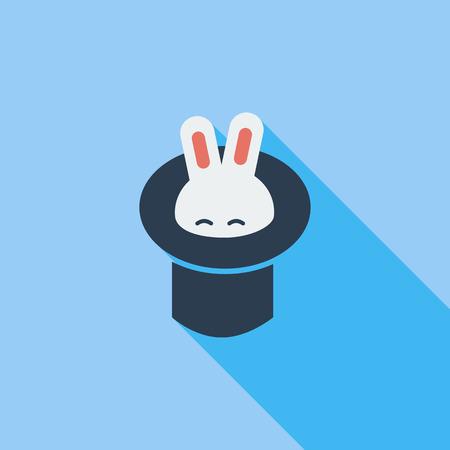 conejo: Conejo en el icono sombrero del mago. Vector plana icono relacionado con la larga sombra para web y aplicaciones m�viles. Vectores