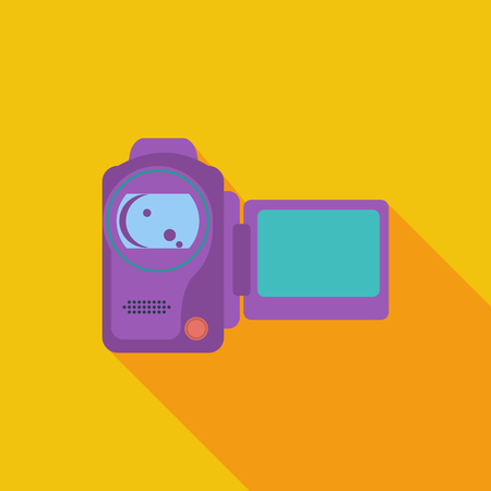 home video camera: Video camera icon. Flat vector related icon with long shadow for web and mobile applications. Illustration