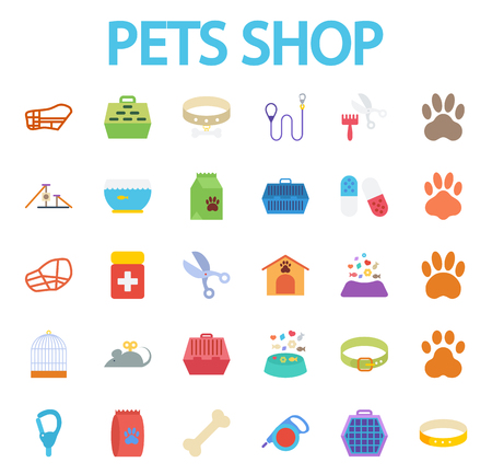 pet store: Pets shop icons set. Flat vector related icon set for web and mobile applications.